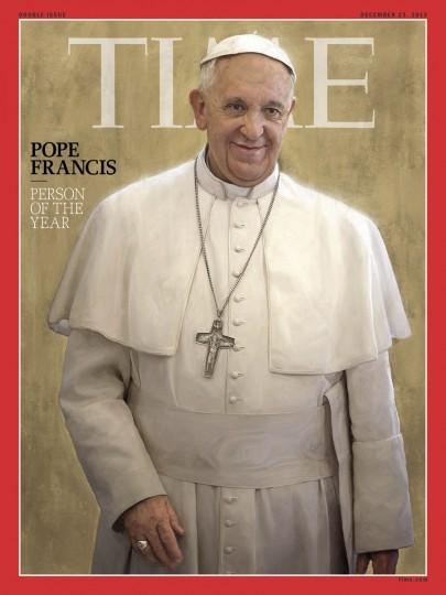 """Time magazine on Wednesday named Pope Francis its person of the year, saying that in nine months in office the head of the Catholic Church had become a new voice of conscience. """"For pulling the papacy out of the palace and into the streets, for committing the world's largest church to confronting its deepest needs and for balancing judgment with mercy, Pope Francis is TIME's 2013 Person of the Year,"""" wrote managing editor Nancy Gibbs.""""Rarely has a new player on the world stage captured so much attention so quickly -- young and old, faithful and cynical -- as Pope Francis."""