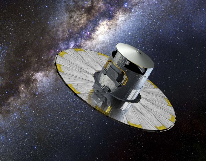 This handout picture released on August 8, 2013 by the European Space Agency (ESA) shows an artist impression of Gaia. Gaia, which will be launched on December 19, is an ambitious mission to chart a three-dimensional map of our Galaxy, the Milky Way, in the process revealing the composition, formation and evolution of the Galaxy. Gaia will provide unprecedented positional and radial velocity measurements with the accuracies needed to produce a stereoscopic and kinematic census of about one billion stars in our Galaxy and throughout the Local Group.