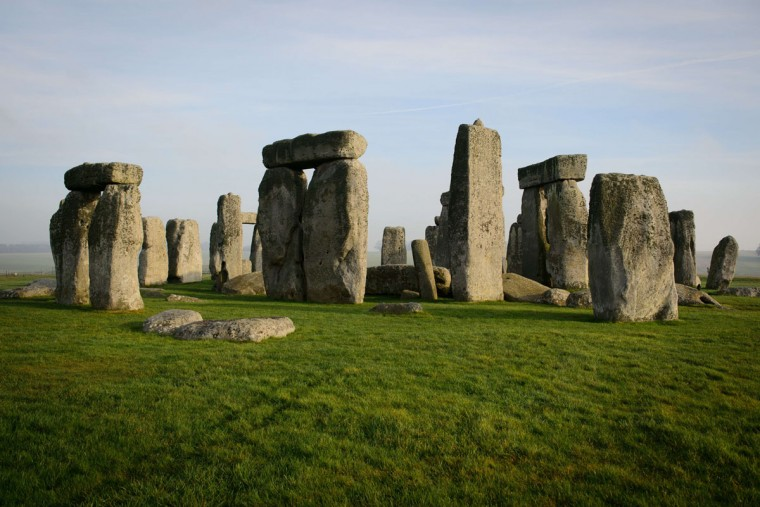 A general view shows the prehistoric monument of Stonehenge, a world heritage site, near Amesbury in south west England on December 11, 2013. The mysterious circle of standing stones set within earthworks, on Salisbury Plain in southwest England, is one of the most iconic ancient sites in Europe. Stonehenge's new visitor centre opens on December 18 in time for the winter solstice, hoping to provide an improved experience for the million tourists that flock annually to Britain's most famous prehistoric monument. (Leon Neal/AFP/Getty Images)