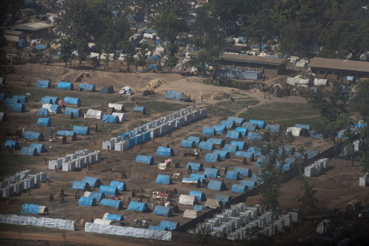 A picture shows the camp for internally displaced people (IDP) in Bossangoa on December18, 2013. The Central African Republic's interim president and prime minister were to hold talks on December 18 in a bid to end a political rift, as several European countries offered to help quell deadly sectarian violence in the country. Around 600 people have been killed in less than two weeks, according to the United Nations, while some 210,000 people have been forced from their homes in the capital alone. (Fred Dufour/AFP/Getty Images)