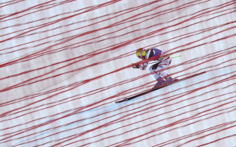 Austria's Andrea Fischbacher competes during a second training of the Women World Cup Downhill on December 19, 2013 in Val dIsère, French Alps. Switzerland's Dominique Gisin clocked the best time, followed by USA's Lindsey Vonn and Slovenian Tina Maze. (Franck Fife/AFP/Getty Images)