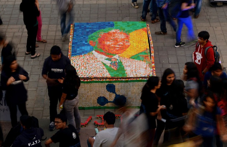 A portrait of late South African former president Nelson Mandela, made from some 3,700 Rubiks cubes, is seen on display at the High Street Phoenix Mall in Mumbai on December 19, 2013. Students from India's Veermata Jijabai Technological Institute (VJTI) displayed the portrait as part of their 'Technovanza 2013' show. (Punit Paranjpe/AFP/Getty Images)