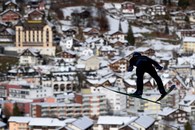 Austria's Gregor Schlierenzauer soars through the air during the FIS World Cup event in Engelberg, central Switzerland, on December 21, 2013. (Fabrice Coffrini/AFP/Getty Images)