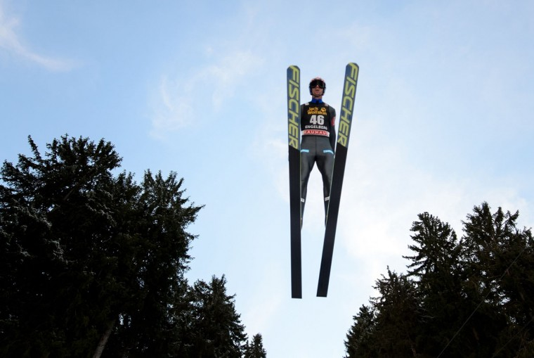 Norway's Anders Bardal soars through the air to place third in the FIS Ski Jumping World Cup competition in Engelberg, central Switzerland, on December 21, 2013. (Fabrice Coffrini/AFP/Getty Images)