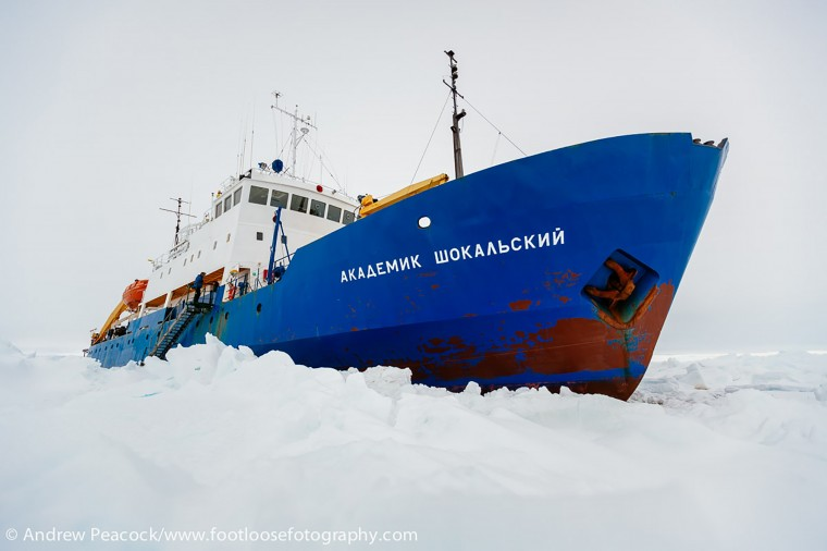 This handout image released by the Centre of Excellence for Climate System Science at the University of New South Wales and taken by Andrew Peacock of www.footloosefotography.com on December 27, 2013 shows the ship MV Akademik Shokalskiy trapped in the ice at sea off Antarctica. A Chinese icebreaker was on December 27 closing in on the frozen seas where the scientific mission ship was trapped off Antarctica, as those onboard welcomed the easing of blizzard conditions. The ship, with 74 people on board, has been trapped in ice about 100 nautical miles east of the French base Dumont D'Urville since December 24. (Andrew Peacock/footloosefotography.com/AFP/Getty Images)