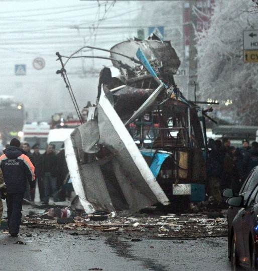 View of the wreckage of a trolley bus following an attack in the southern Russian city of Volgograd on December 30, 2013. The force of the blast left almost no trace of the trolley bus, which was packed with early morning commuters, and also blew out windows of nearby houses, state television said. (AFP/Getty Images)