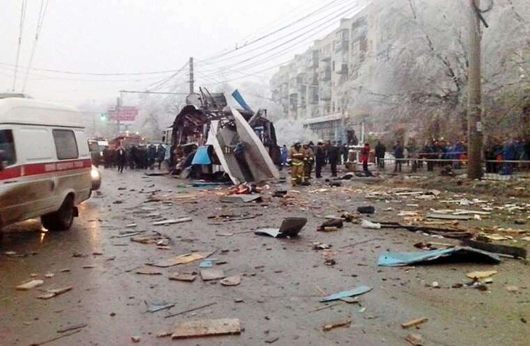 A handout picture taken and released on December 30, 2013 by the Volgograd regional Interior Ministry department's press service shows the wreckage of a trolley bus following a suicide bombing attack. (AFP/Getty Images)