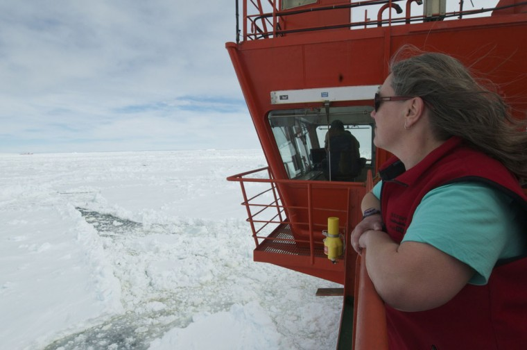 This photo provided by Fairfax Media Pool and released by the Australian Antarctic Division on January 2, 2014 shows voyage leader Leanne Millhouse from the ship Aurora Australis looking out at the Chinese Antarctic vessel Xue Long (L in far background) from the bridge of the Aurora Australis ship off Antarctica, both in the frozen waters to help rescue a nearby Russian research ship (not pictured). A helicopter mission to rescue 52 passengers trapped on the icebound Russian research ship MV Akademik Shokalskiy finally got underway in Antarctica on January 2, 2014 after a number of false starts and failed icebreaking attempts. It was expected to take at least five hours to ferry all passengers from the icebound vessel to the Xue Long -- 10 nautical miles distant -- by helicopter, with five flights of up to 12 passengers and a return journey taking 45 minutes. Under the aerial rescue plan outlined by the Australian Maritime Safety Authority (AMSA) earlier on January 2, the passengers will be moved from the Xue Long to Australia's Antarctic supply ship the Aurora Australis via a barge. (Jessica Fitzpatrick / Australian Antarctic DivisionAFP/Getty Images)