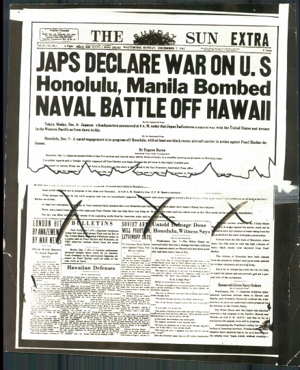 The headline from the Sunday Baltimore Sun on Dec. 7, 1941. (The Baltimore Sun)