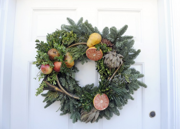 "An outdoor wreath was made by Sophie Wittelsberger, for the ""Christmas Through the Ages"" tour at the Manor House at Ladew Gardens. (Barbara Haddock Taylor/Baltimore Sun)"