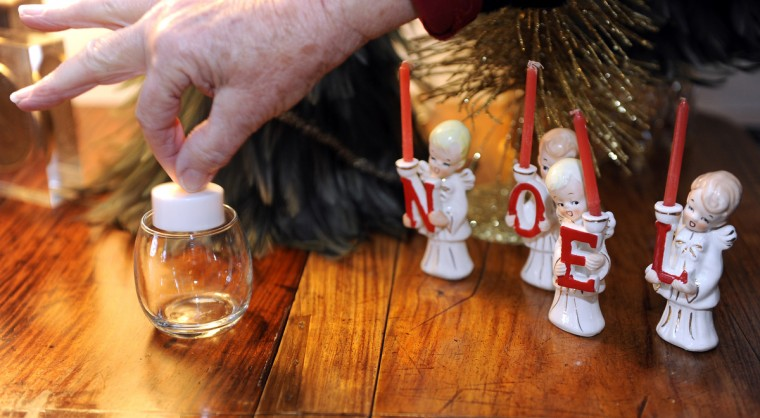 "Figurines in the Drawing Room for the ""Christmas Through the Ages"" tour at Ladew Gardens. (Barbara Haddock Taylor/Baltimore Sun)"