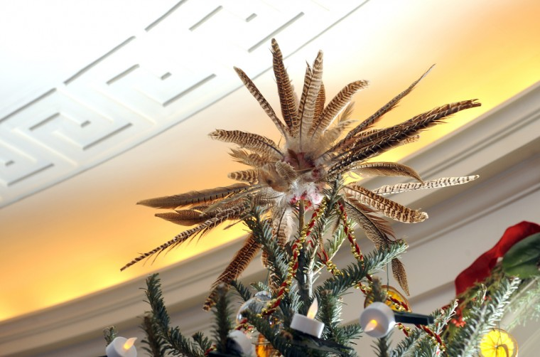 A tree top is decorated with pheasant feathers in the Oval Library at the Manor House. (Barbara Haddock Taylor/Baltimore Sun)