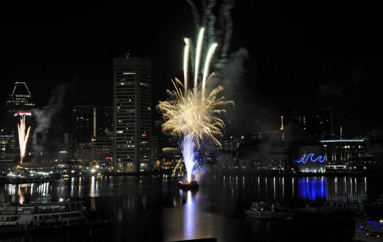 Baltimore's New Year's Eve Spectacular fireworks show at the Inner Harbor to welcome in the year 2014. (Kenneth K. Lam/Baltimore Sun)