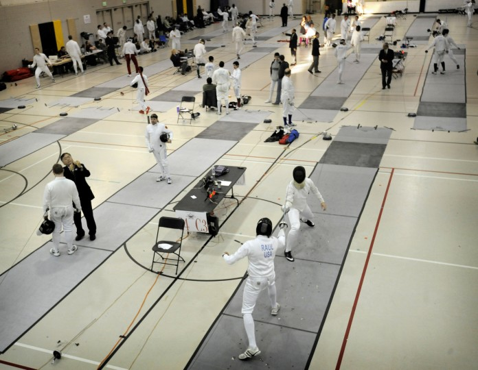 Seventy-one fencers took part in the division I-A men's epee event in the Regional Open Circuit (ROC) Charm City Classic at UMBC. The ROC is a qualifier for the Fencing National Championships that drew over 200 for the various classes. Fencers can score by touching any part of the body with the epee, unlike the foil or sabre which have specific target areas. (Kim Hairston/Baltimore Sun)