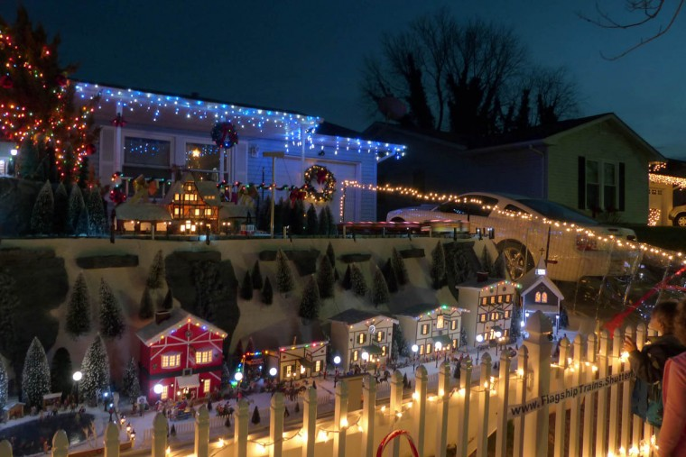 The holiday resort of Beaverton Cliffs, a holiday G-gauge train village created on the front yard of John and Kim Beverly. (Karl Merton Ferron/Baltimore Sun Staff)