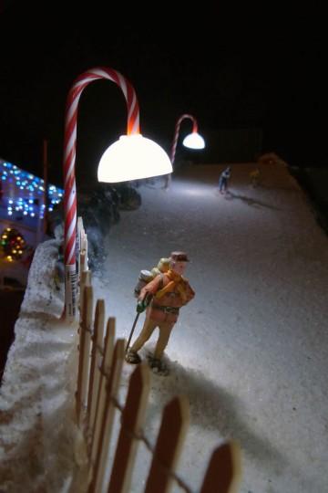 A hiker uses snow shoes to head down the ski slope. (Karl Merton Ferron/Baltimore Sun Staff)