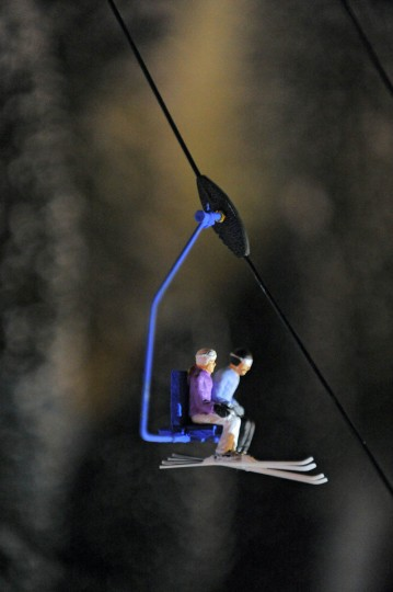 Skiers ride a lift at Beaverton, a holiday N-gauge train village. (Karl Merton Ferron/Baltimore Sun Staff)