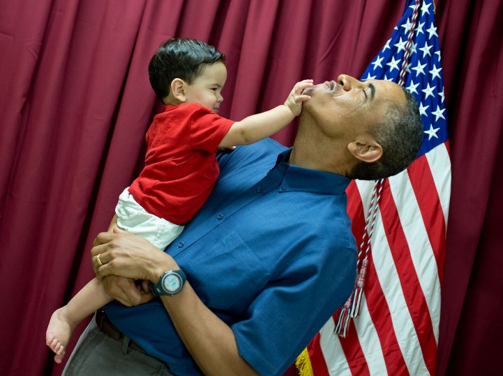 "Dec. 25, 2013 ""When little kids are around, you never know what will happen. See previous photograph."" (Official White House Photo by Pete Souza)"