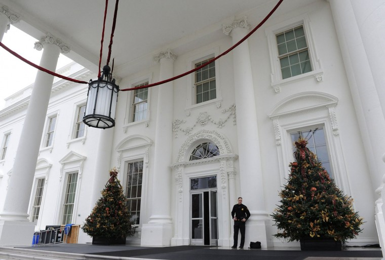 Holiday decorations at the White House are displayed during a press tour on Wednesday, Dec. 4, 2013, in Washington, DC. (Olivier Douliery/Abaca Press/MCT)