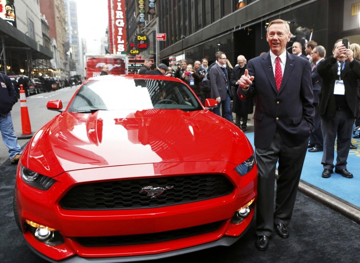 Ford Motor Co. CEO Alan Mulally unveils its all new 2015 Ford Mustang on ABC's Good Morning America in New York December 5, 2013. (Brendan McDermid/Reuters photo)