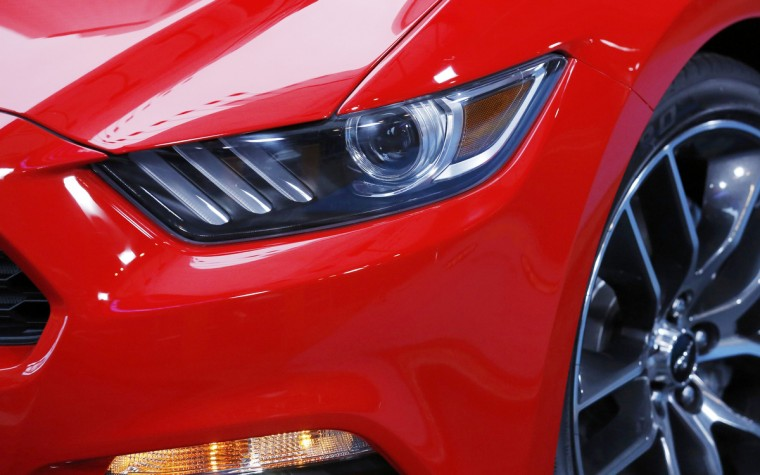 The new 2015 Ford Mustang headlight is pictured on ABC's Good Morning America during unveiling in New York December 5, 2013. (Brendan McDermid/Reuters photo)