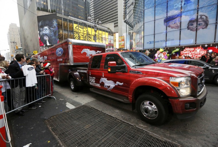 2015 Ford Mustang arrives in a trailor for unveiling on ABC's Good Morning America in New York December 5, 2013. (Brendan McDermid/Reuters photo)