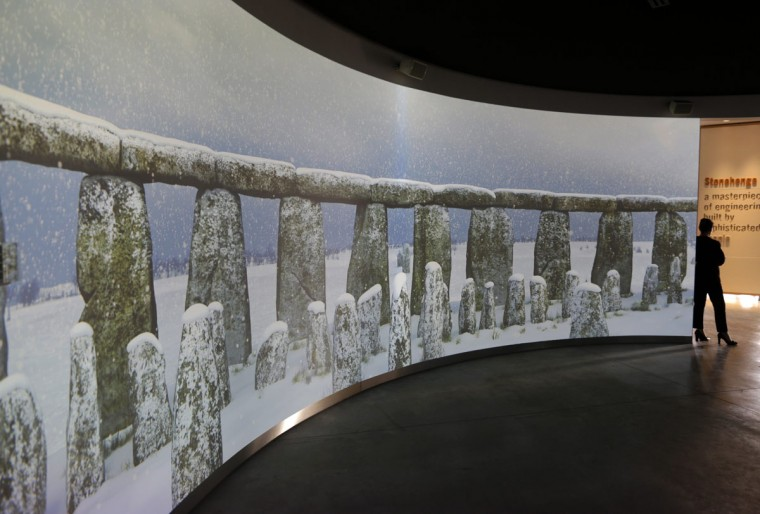 A 360 degree virtual experience video display showing Stonehenge is played at the new exhibition centre at Stonehenge in Salisbury, southern England December 17, 2013. The new exhibition and visitor centre at the popular tourist destination will open to the public on Wednesday. (REUTERS/Kieran Doherty)