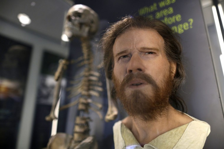 The reconstructed head of an early Neolithic man, based on the skeleton behind, is displayed in the new exhibition centre at Stonehenge in Salisbury, southern England December 17, 2013. The new exhibition and visitor centre at the popular tourist destination will open to the public on Wednesday. (REUTERS/Kieran Doherty)