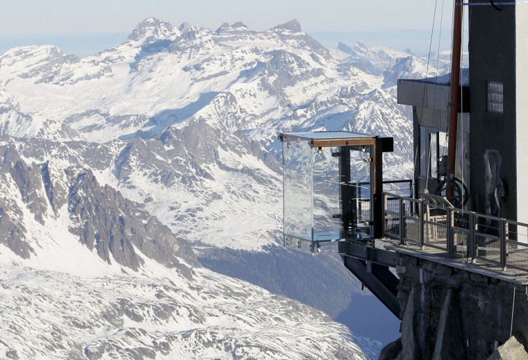 View of the 'Step into the Void' installation at the Aiguille du Midi mountain peak above Chamonix, in the French Alps. (REUTERS / Robert Pratta)
