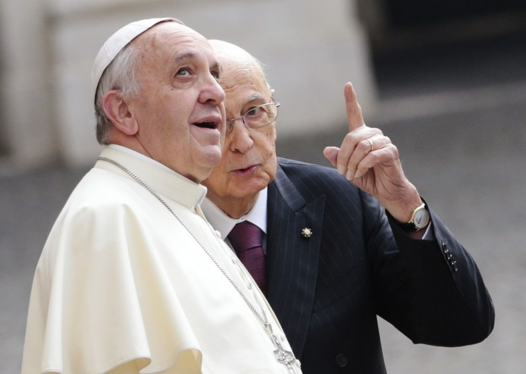 Italian President Giorgio Napolitano (R) talks with Pope Francis as he arrives for a meeting at the Quirinal Palace in Rome November 14, 2013. (Tony Gentile/REUTERS)