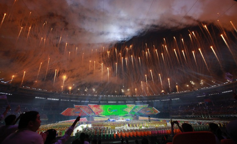 Fireworks are released during the opening ceremony of the 27th SEA Games in Naypyitaw. Myanmar is hosting the games for the first time in over 40 years. (Soe Zeya Tun/Reuters)