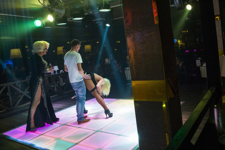 A man participates in a drag performance at Mayak, a gay cabaret club in Sochi, Russia, October 28, 2013. (Thomas Peter/Reuters)