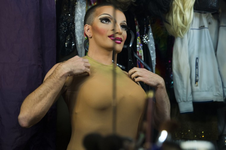 A performer prepares to take part in a drag show backstage at Mayak, a gay cabaret club in Sochi, Russia, October 28, 2013. (Thomas Peter/Reuters)