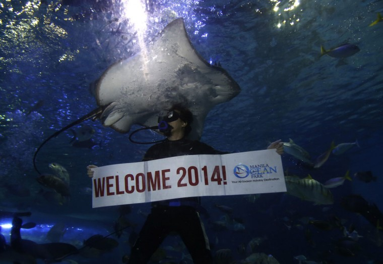 "A professional diver holds a ""Welcome 2014"" banner while swimming next to a stingray during New Year celebrations inside a large aquarium at a ocean park in Manila December 31, 2013. Neither an earthquake nor a super typhoon have dampened the country's optimism as 94 percent are entering the New Year with hope instead of fear, according to a new survey by pollster Social Weather Stations reported on Tuesday. (REUTERS/Romeo Ranoco)"