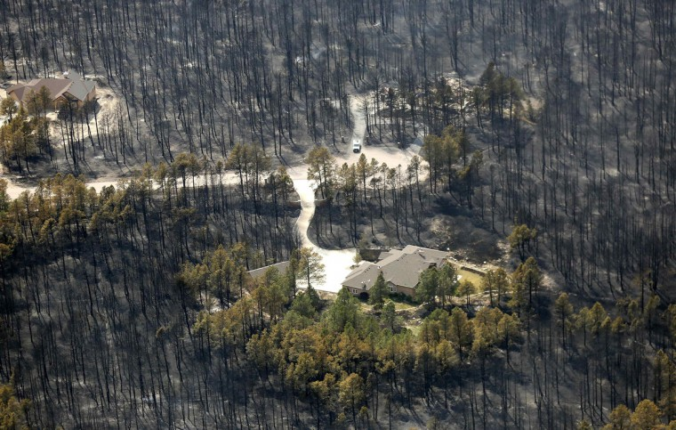 A house sits undamaged in the aftermath of the Black Forest Fire in Black Forest, Colorado June 13, 2013. Hundreds of fire-fighters made a determined stand to stop the wildfire that has already destroyed some 360 homes from roaring into the outskirts of Colorado Springs after it billowed overnight into the most destructive blaze in state history. (Rick Wilking/Reuters)