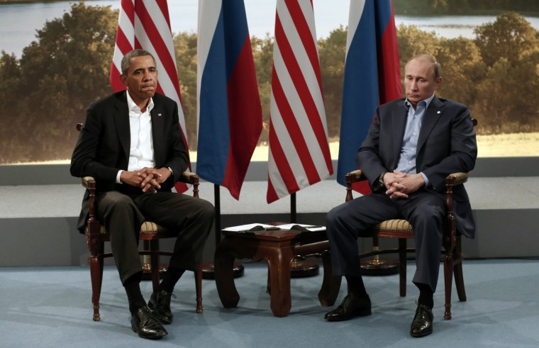 U.S. President Barack Obama (L) meets with Russian President Vladimir Putin during the G8 Summit at Lough Erne in Enniskillen, Northern Ireland June 17, 2013. (Kevin Lamarque/Reuters)