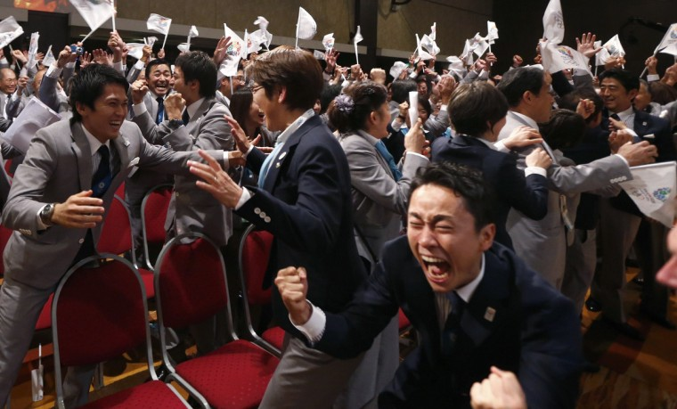 Members of the Tokyo bid committee celebrate as Jacques Rogge President of the International Olympic Committee (IOC) announces Tokyo as the city to host the 2020 Summer Olympic Game during a ceremony in Buenos Aires September 7, 2013. (Marcos Brindicci/Reuters)