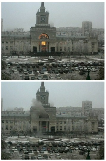 A combination image shows still images taken from CCTV footage of a fire breaking out after an explosion (top) at a train station and smoke rising afterwards, in Volgograd on December 29, 2013. A female suicide bomber blew herself up in the entrance hall of the Russian train station on Sunday, killing at least 13 people in the second deadly attack in the space of three days as the country prepares to host the Winter Olympics. (Reuters photo)