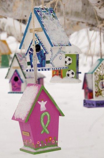 Personalized birdhouses are part of a memorial for the victims of the Sandy Hook Elementary School shooting in Newtown, Connecticut December 14, 2013. Today marks the one year anniversary of the shooting rampage at Sandy Hook Elementary School, where 20 children and six adults were killed by gunman Adam Lanza. (REUTERS/Michelle McLoughlin)