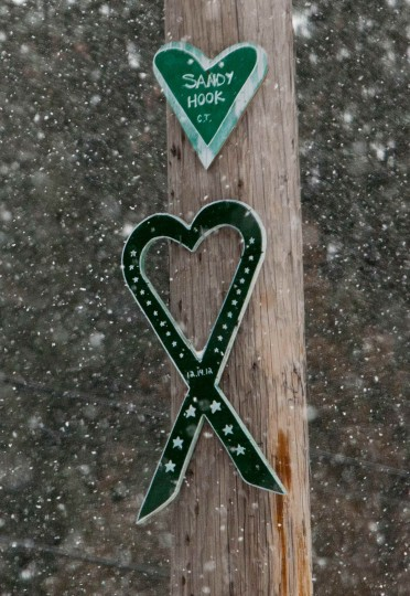 Signs in memory of the victims of the Sandy Hook Elementary School shooting hang from a street pole in Newtown, Connecticut December 14, 2013 . Today marks the one year anniversary of the shooting rampage at Sandy Hook Elementary School, where 20 children and six adults were killed by gunman Adam Lanza. (REUTERS/Michelle McLoughlin)