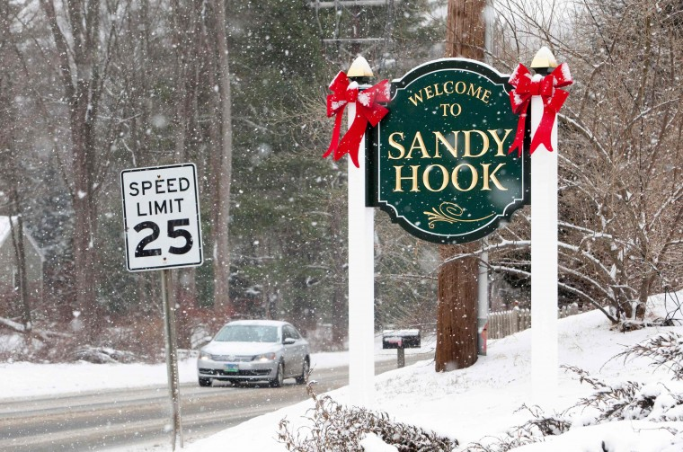 A sign welcoming visitors to Sandy Hook in Newtown, Connecticut December 14, 2013 . December 14th marks the one year anniversary of the shooting rampage at Sandy Hook Elementary School, where 20 children and six adults were killed by gunman Adam Lanza. (REUTERS/Michelle McLoughlin)