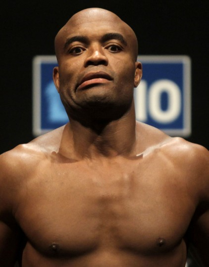 Brazilian UFC (Ultimate Fighting Championship) fighter Anderson Silva attends an official weigh-in in Rio de Janeiro August 26, 2011. UFC Rio, a professional mixed martial arts (MMA) competition will be held in Rio de Janeiro on August 27. (Richardo Moraes/Reuters)