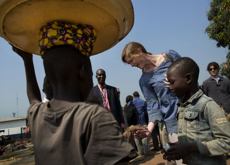 Samantha Power, U.S. ambassador to the U.N., visits a camp Thursday just outside the airport of the Central African Republic's capital, Bangui. More than 20,000 people have come to the camp to flee violence in other parts of the country. (Linda Davidson/The Washington Post)