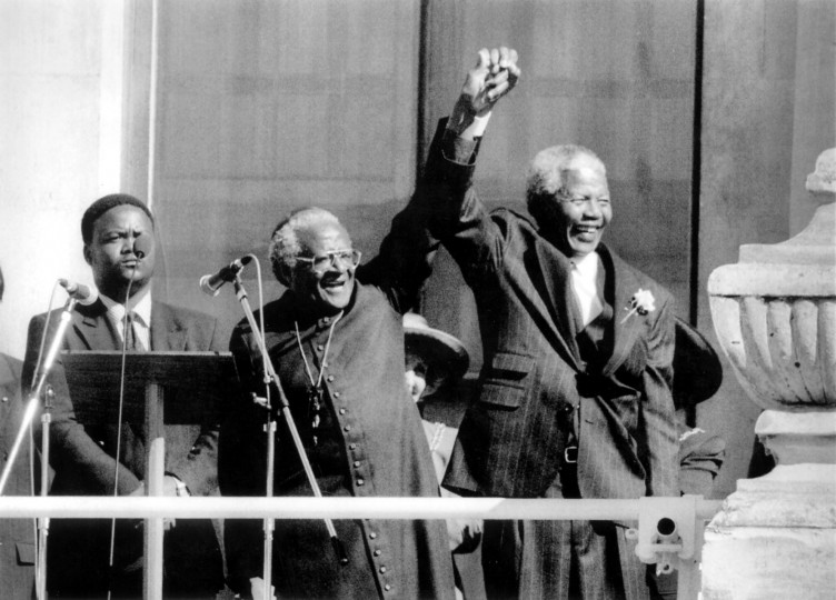 Nelson Mandela, right, and Archbishop Desmond Tutu in Cape Town, South Africa, celebrate Mandela's 1994 presidential victory. Illustrates MANDELA-OBIT (category a), by Sudarsan Raghavan and Lynne Duke (c) 2013, The Washington Post. Moved Thursday, Dec. 5, 2013. (Washington Post photo by Dudley Brooks)