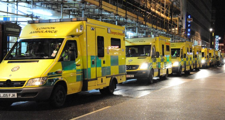 A fleet of ambulances seen on Shaftesbury Avenue after the roof collapsed at The Apollo Theatre in London, England. A number of people have been seriously injured after part of the roof of the famous West End theatre collapsed during a packed performance of 'The Curious Incident of the Dog in the Night-Time'. (Alan Chapman/Getty Images)