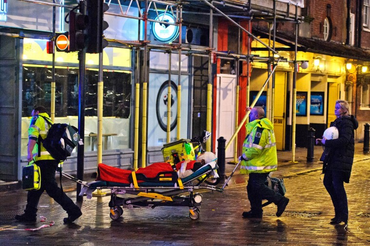 Members of the emergency services work at the scene of a roof collapse at The Apollo Theatre on in London, England. A number of people have been seriously injured after part of the roof of the famous West End theatre collapsed during a packed performance of 'The Curious Incident of the Dog in the Night-Time'. (Ben A. Pruchnie/Getty Images)
