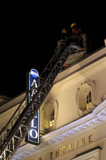 General view of the the Apollo Theatre after the roof fell in during a show in London, England. A number of people have been seriously injured after part of the roof of the famous West End theatre collapsed during a packed performance of 'The Curious Incident of the Dog in the Night-Time'. (Danny Martindale/Getty Images)