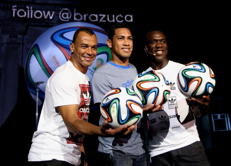 Cafu, Hernane and Seedorf pose with the World Cup Brazuca ball during the adidas Brazuca launch at Parque Lage in Rio de Janeiro, Brazil. (Photo by Friedemann Vogel/Getty Images for adidas)
