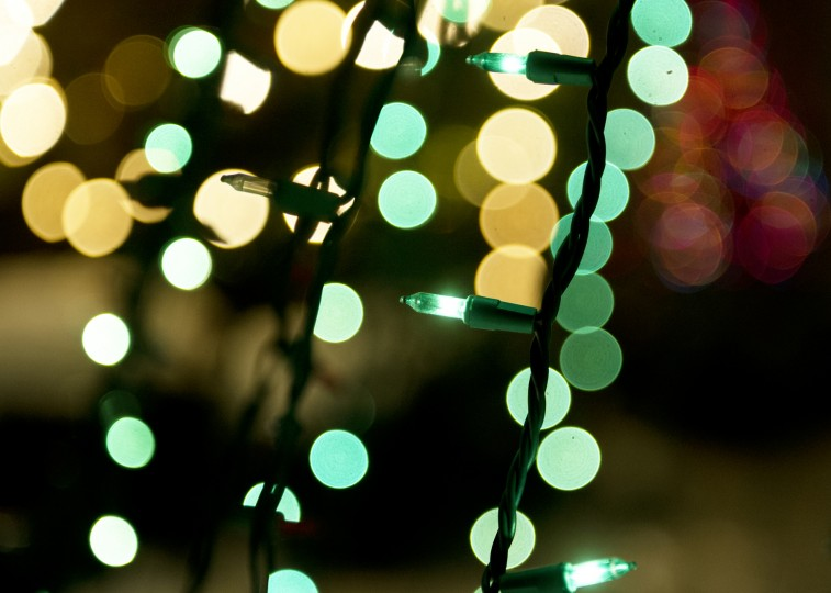 "Green ligths, part of the ""tree,"" shine in the foreground with hundreds behind them in the front yard of Phil Hoesch's parents' home in Cockeysville, Thursday, Dec. 12, 2013. (Jon Sham/BSMG)"