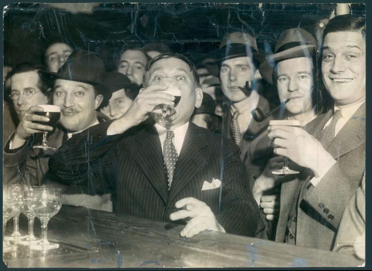 HL Mencken celebrating the end of prohibition. with Francis Jenks, James McGill, Hamilton Owens.